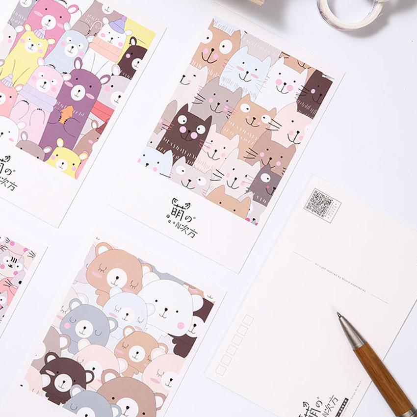 30sheets pack Kawaii Cute Cat Dog Bear Baby Cartoon Postcard Party Favor Supply For Girl Gift Greeting Card Invitation Card in Cards Invitations from Home Garden