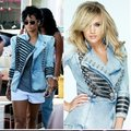 TO-001 S/M/L New Women 2013 ladies' Shrug jean jacket Military-Style Denim Jacket chain coat Free Shipping
