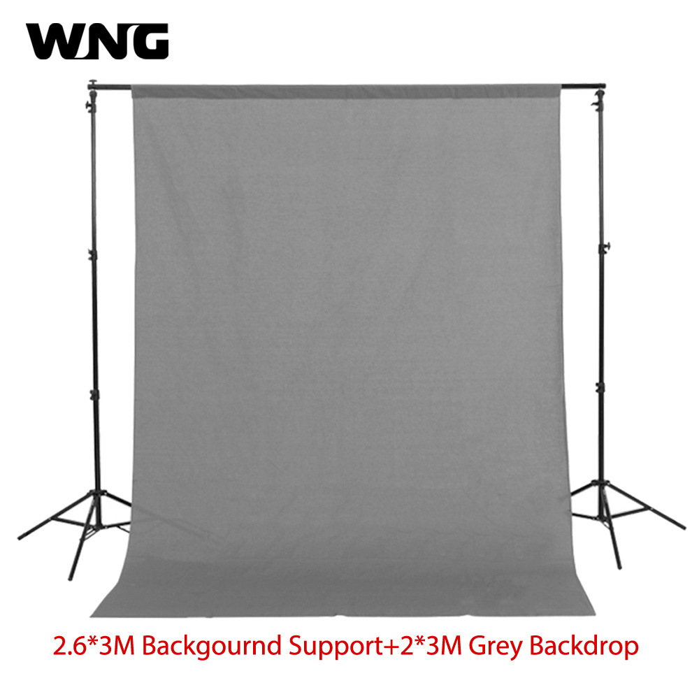 200cm*300cm Grey Background Backdrop Cloth with 2.6m*3m/8.5ft*9.8ft Photo Background Backdrop Stand Support Kit 600cm 300cm fundo snow footprints house3d baby photography backdrop background lk 1929
