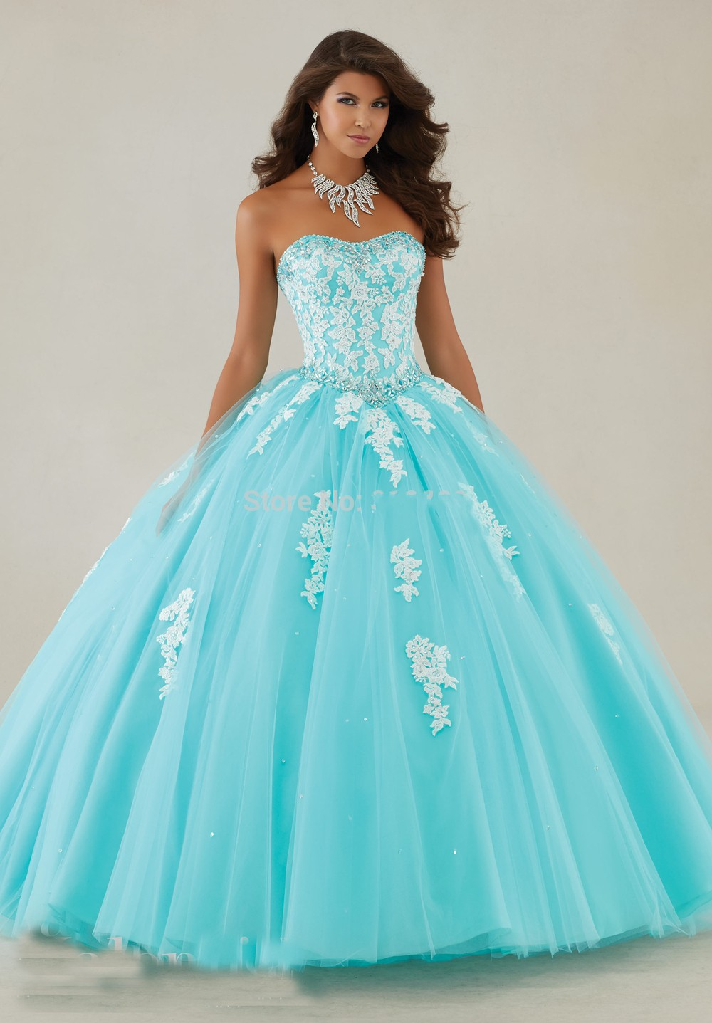Long Sweet 16 Ball Gown Aqua Puffy Quinceanera Dresses Cheap ...