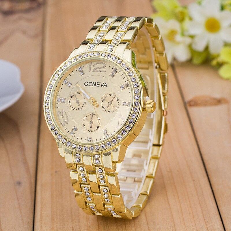 2018 New famous brand Geneva Gold Watch Women Dress Watches Luxury Stainless Steel Analog Quartz Ladies Rhinestone Wrist watches in Women 39 s Watches from Watches