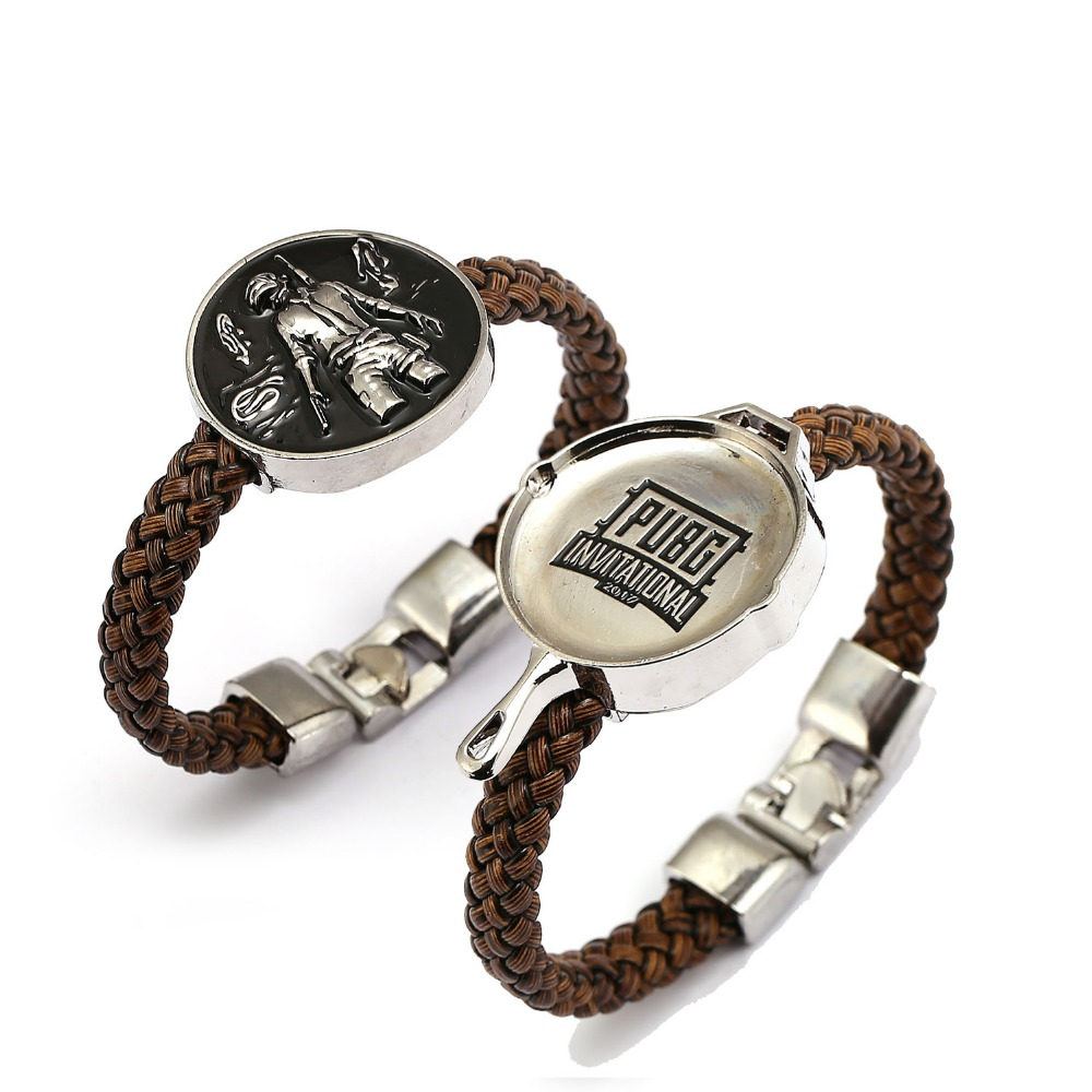 Game Playerunknowns Battlegrounds Bracelet PUBG Logo Pan Model Genuine Leather Women Men Punk Bangles Charm Pulseiras