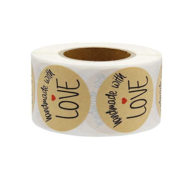 "Купить с кэшбэком Natural Kraft ""Handmade with love"" Stickers seal labels sticker scarpbooking for Package handmade sticker stationery 500pcs roll"