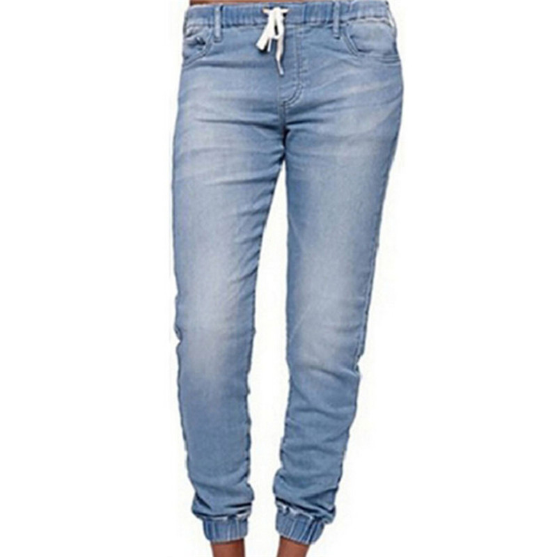 a6c467bb2c63e Drawstring Loose Jeans Pants Lace-up Ladies Fashion Harem Stretch ...