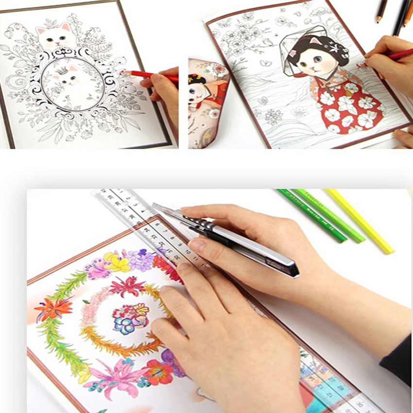 Aliexpress Buy 40sheets Colorful Jetoy Cat Coloring Book For Adult Children Relieve Stress Graffiti Secret Garden Art Books From Reliable