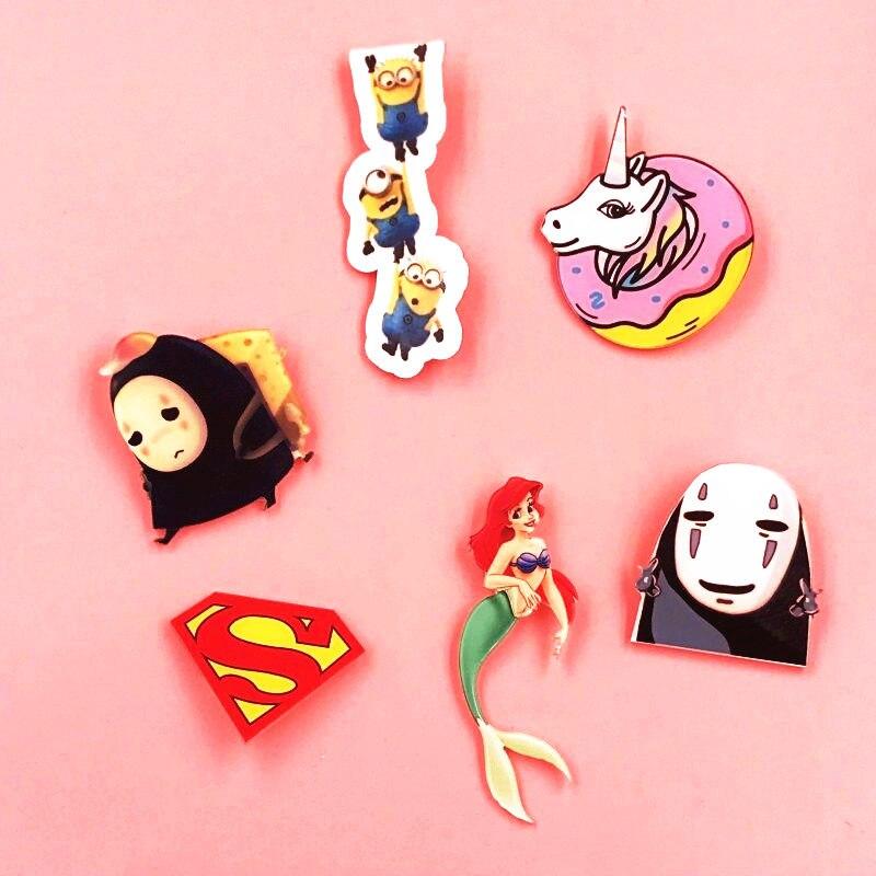 1 Stück Super Man Logo Harajuku Pin Abzeichen Kunststoff Brosche Minions Abzeichen Für Kleidung Symbol Auf Rucksack Acryl Abzeichen Für Kleidung