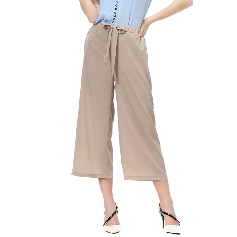 Women Calf-Length Trousers Streetwear Casual   Pants   High Waist Stripe   Wide     Leg     Pants