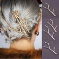 Hairpin Gold Silver Metal Branch Hair Pins Women Hair Jewelry Head Accessories Wedding Bridal Clip Hairpins for Girls 6H3010