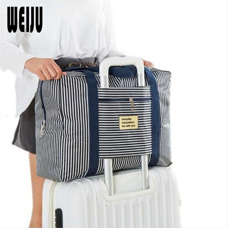 WEIJU 2017 New Waterproof Travel Bag Large Capacity Tote Bags Women Folding Clothes Bag Luggage Travel Handbags Striped Dot