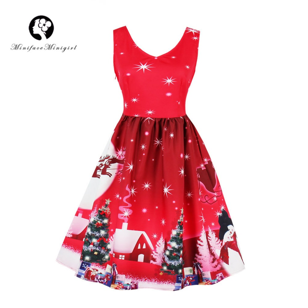 Red Winter Christmas Dress Vintage V Neck Knee Length Sleeveless Dresses Vestidos Santa Print Christmas Dress Plus Size 4xl
