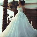 2017 Elegant Sweetheart Appliqued Beaded Sleeveless Puffy Princess Wedding Dresses Vestidos de Noiva Charming Bridal Gown