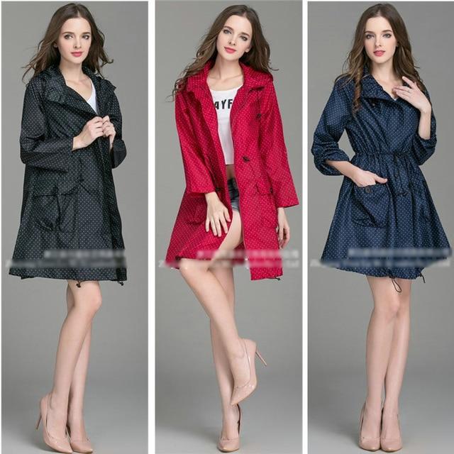 2017 New High Quality Fashion Women Raincoat With Hat Foldable Cuffs Laydies Dress Style Rain Coat Waterproof Rainwear Jacket