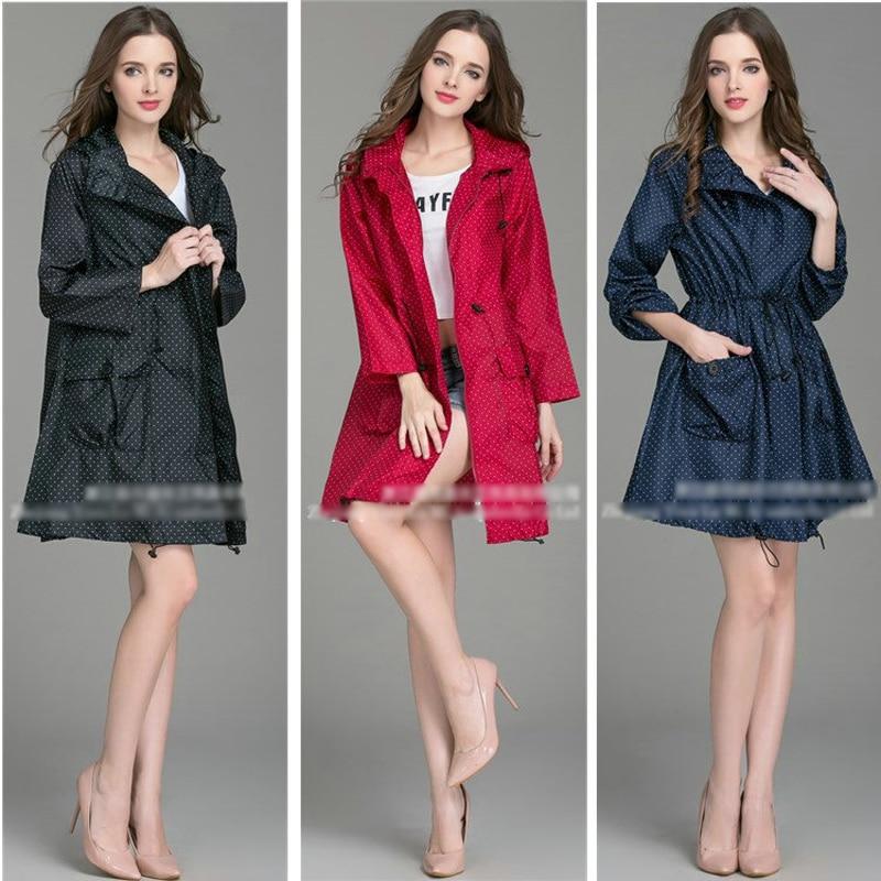 2018 New High Quality Fashion Women Raincoat With Hat Foldable Cuffs Laydies Dress Style ...