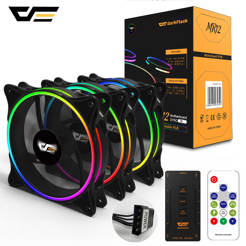 DarkFlash RGB PC Case Fan 120mm Computer Cases CPU Cooling Fans Quiet Asus Aura Sync Cooler Cooling Adjust Speed LED PC Fan MR12