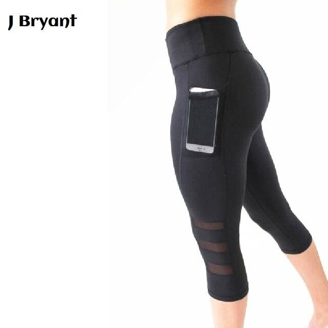 Yoga Leggings Capri Pant Leggins Sport Women Fitness Yoga Pants Gym Legging  Women Black Mesh 3 4 Pants 38a792061d15