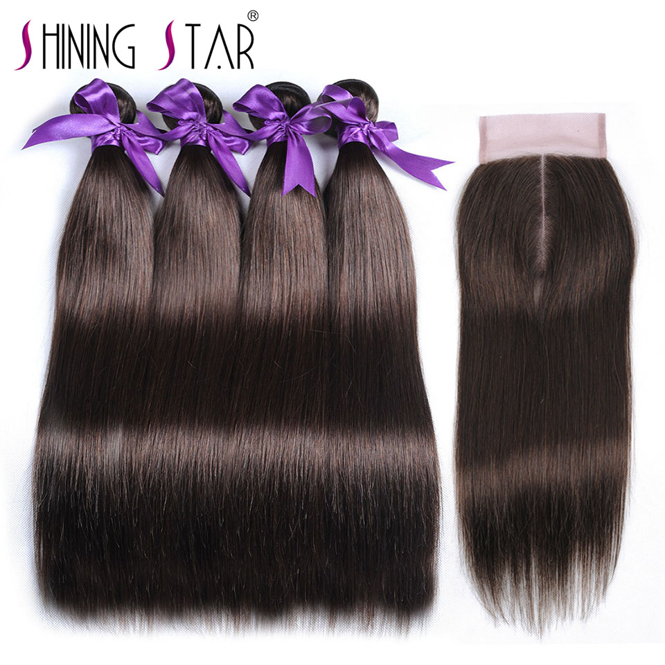 Color 4 Peruvian Hair Bundles With Closure Brown 4 Bundles Straight Human Hair Weave With Closure Shiningstar Nonremy Free Gifts