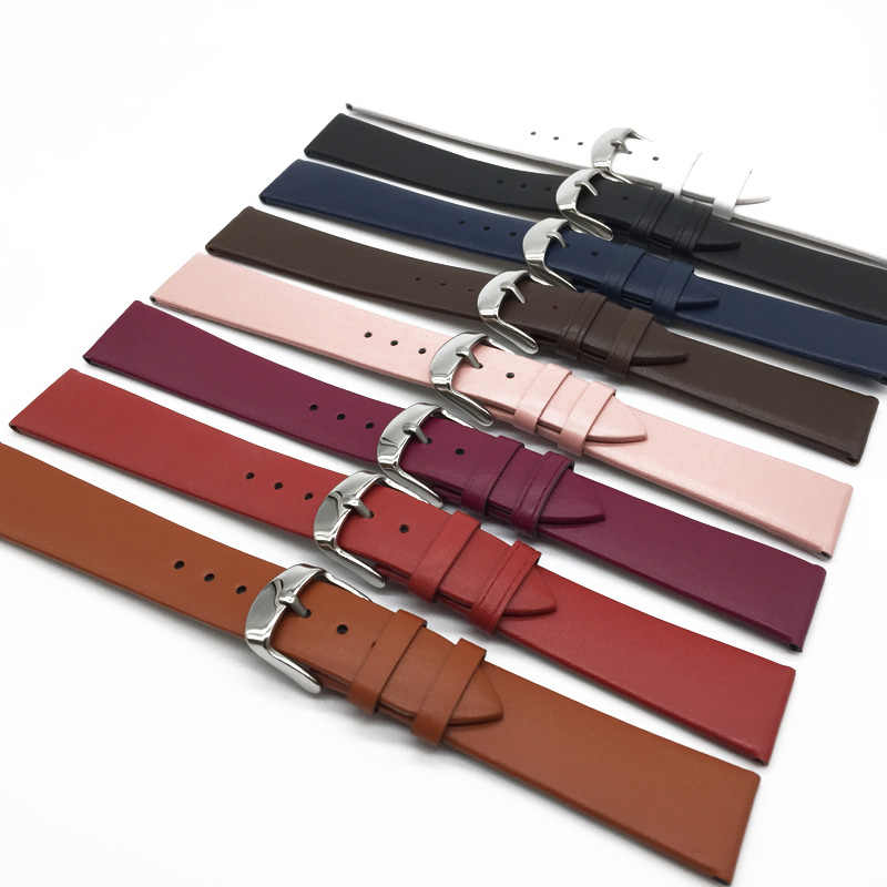 Watch Band smooth Leather small straps 12 1416 18 20 22 mm woman watch accessories men High Quality Brown colors Watchbands