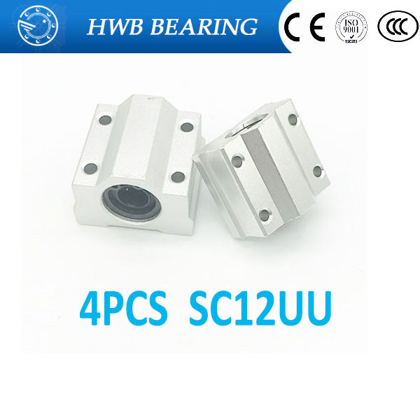 High quality 4 pcs SC12UU SCS12UU Linear motion ball bearings slide block bushing for 12mm linear shaft guide rail scv25uu slide linear bearings aluminum box type cylinder axis scv25 linear motion ball silide units cnc parts high quality