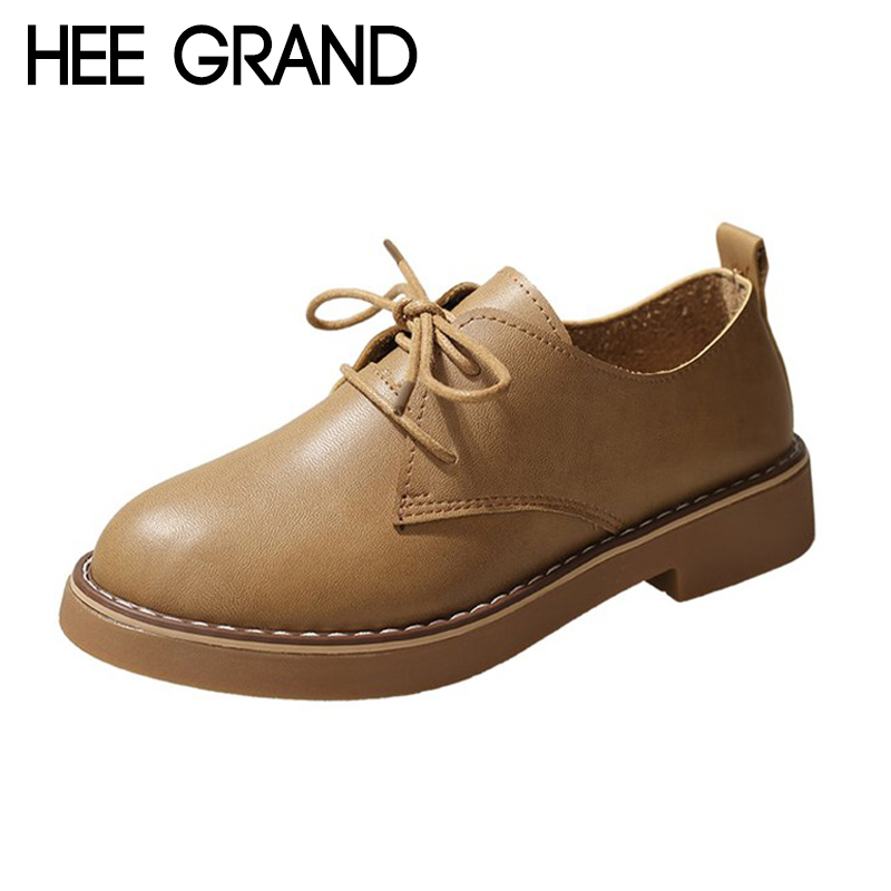 HEE GRAND 2018 New Women Flats Lace-up Summer&Fall Women Slip-on Causal Fashion Oxford Soft Leather Mujer Shoes XWD6906 hee grand 2018 new fashion flats shoes women oxfords faux fur pu leather solid mother causal slip on british style shoes xwd6955