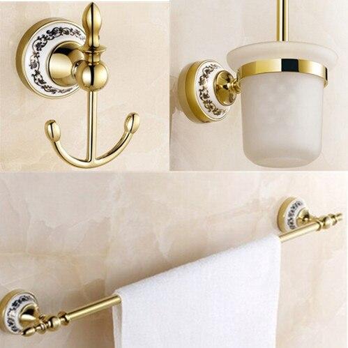 Gloden Bathroom Set Cloth Hook+brush Holder+Single Towel Bar Gold Brass  Bathroom Accessories