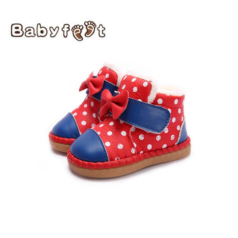 Winter Baby Boy Girl Snow Boots Warm Fashion Waterproof Outdoor Genuine Leather Moccasins Plush Shoes Infant