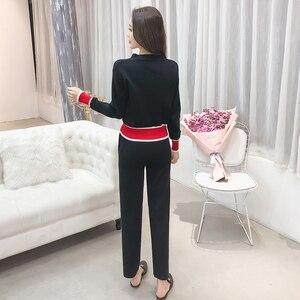 Image 2 - 2019 outono nova chegada conjuntos de moda feminina casual sólido decote em v tricô cardigan botão camisola e calças casuais s88107y