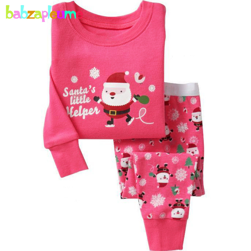 Christmas Pajamas Baby Boys Clothes Tops+Pants 2pcs girls suits Kids Tracksuits Children Sleepwear Toddler Clothing Sets BC1167 set of clothes children girls boys baby clothing milk print 3pcs suit toddler kids christmas pajamas sleepwear top 2017 new