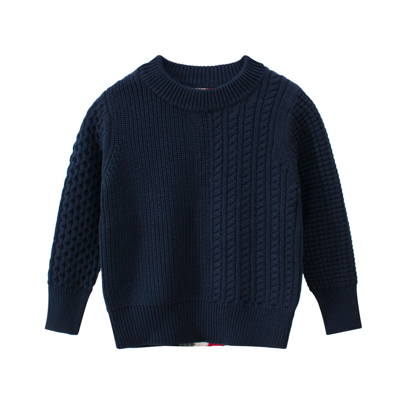 Image 4 - kids Casual Sweaters Autumn Winter 2019 Boys and Girls Pullover Knitted Striped Sweater Children Long Sleeve Gray Navy Blue Tops-in Sweaters from Mother & Kids