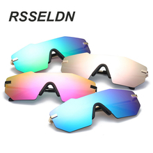 RSSELDN  2017 New Fashion Sunglasses Women Classic Brand Designer Sunglasses High Quality Alloy Big Box Frameless Goggles UV400