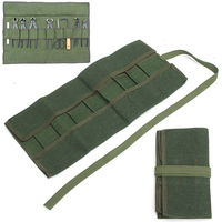 Army Green Garden Bonsai Storage Package Roll Bag Garden Repair Tools Scissors Pliers Canvas Storage Bag