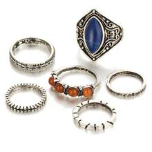 2018 6pcs/Set Women Bohemian Vintage Silver Stack Rings Above Knuckle Blue Rings Set Gift for dropshipping 18Jun1(China)