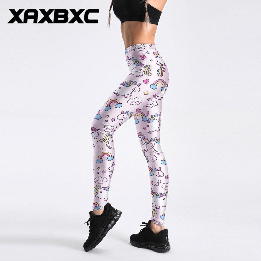 XAXBXC 4024 Sexy Girl Pencil Pant Light Pink Cartoon Unicorn Rainbow Print Elastic Slim Fitness Workout Women Leggings Plus Size