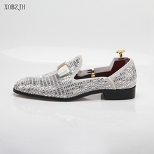 2019 New Men Dress Shoes Handmade Leisure Rhinestone Style Wedding Party Shoes Men Flats Silver Leather Loafers Shoes Big Size christia bella metal signature shark tooth rhinestone men loafers wedding party dress shoes smoking slippers casual men flats