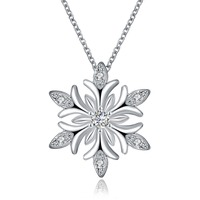 Amazing Christmas Gift Fashion Party Choker Xmas Snowflake Pendant Necklace 45cm For Women LKN18KRGPN1212-A