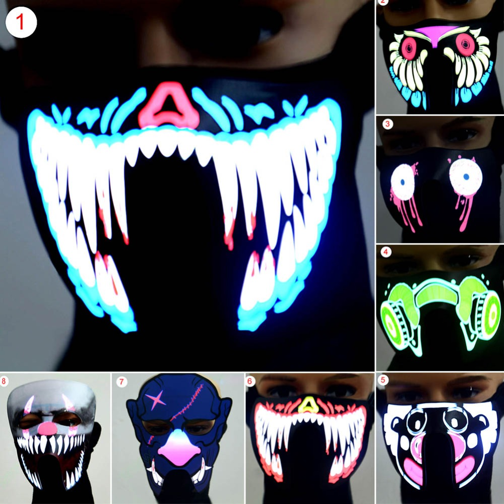 Waterproof LED Luminous Flashing Face Mask Party Light Up Dance Halloween Cosplay Christmas Mask Scary Stage Decoration halloween scary ghost face mask white multi color