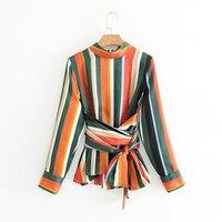 Nuova primavera di colore di contrasto a righe a manica lunga o collo zipper decor camicetta a vita alta fascia femminile lavoro occasionale camicia sottile top