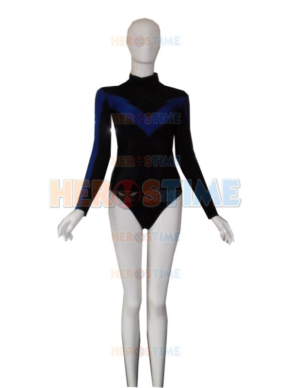Leotard Style Nightwing Costume Batman Series Black And Blue Spandex Zentai Suit halloween Cosplay
