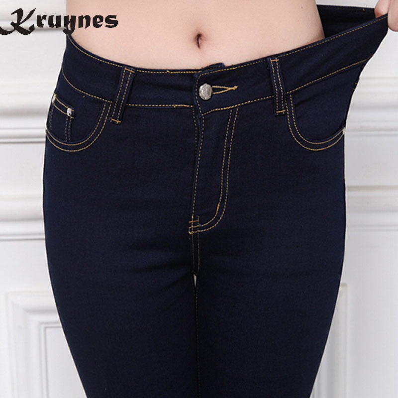 Plus Size Elastic Jeans For Women With High Waist Stretching Black Jeans Skinny Denim Pencil Trousers For Women big size 2017 new jeans women spring pants high waist thin slim elastic waist pencil pants fashion denim trousers 3 color plus size