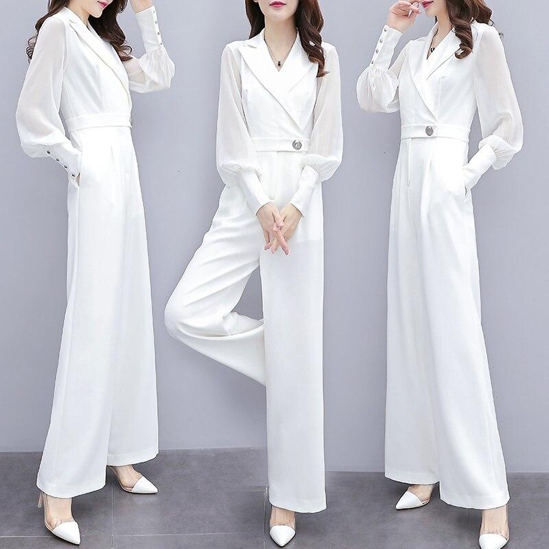 2019 macacões para mulheres outono coreano senhora do escritório elegante chiffon lapela v pescoço manga longa ampla perna macacão preto branco aa4737 - 3