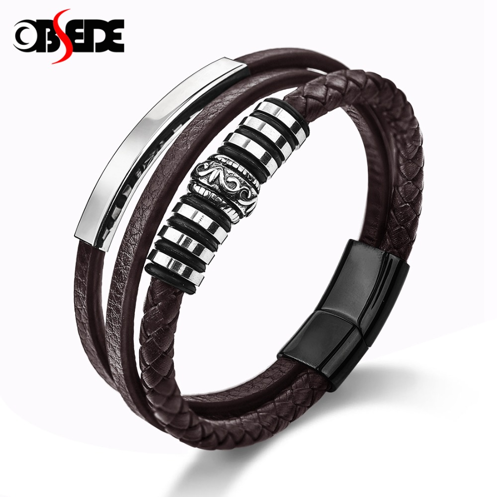 OBSEDE Punk Genuine Leather Bracelets Black & Brown Rope Chain Stainless Steel Magnetic Clasp Beads Charms Design Cool Gifts