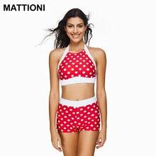 MATTIONI Women Halter Bikini High Waist Style Swimsuit Swimwear Bikini Set Swimsuit Swimwear Women's Swimming Bathing Suit