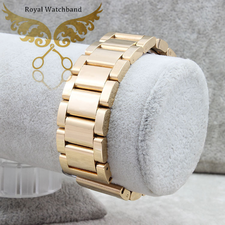New Arrival 22mm Gold Black Stainless Steel Watch Band Double Push Buckle Clasps Strap Bracelet For