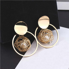 Women Fashion Earrings Metal Winding Ball Circle Geometric Earrings For Women Pearl Dangle Earrings Drop Earings Jewelry metal artificial pearl circle drop earrings