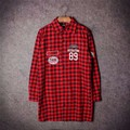 Fall winter hip hop skate us army label tags megaton 89 plaid cotton extended super long dress shirt