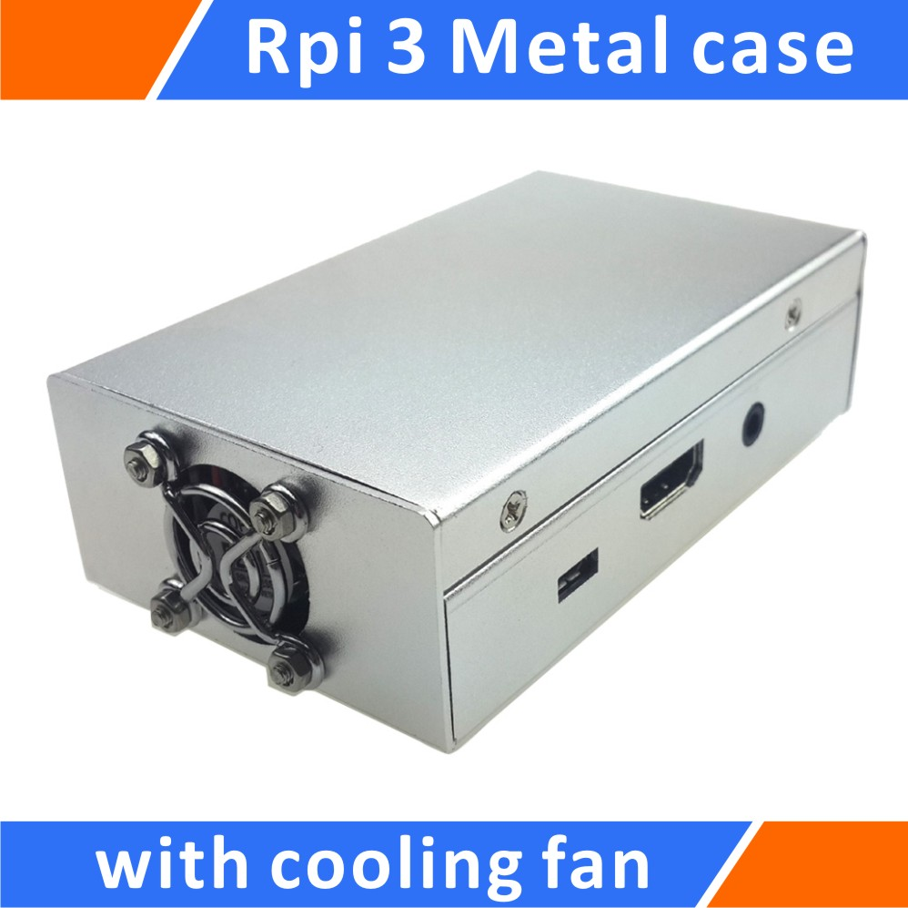 Raspberry Pi 3 B+ Model Alloy Metal Case Enclosure with Cooling Fan Silver image