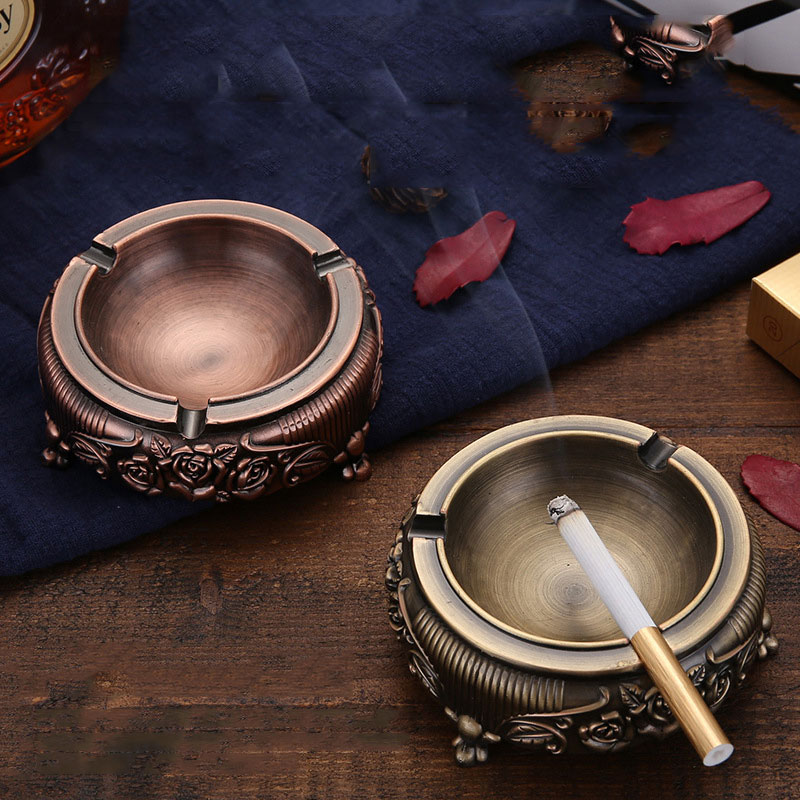 1PC High-grade Carved Zinc Alloy Household Ashtray Household Accessories 9.5x9.5x4cm For House Bar Gift For Friends