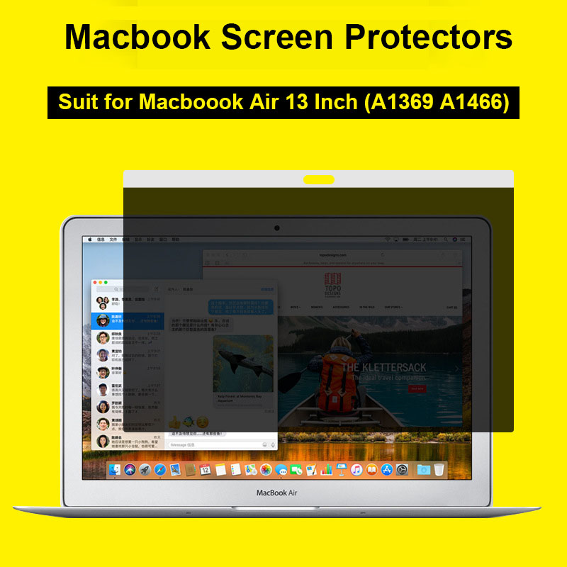 New Apple Laptop Magnetic Privacy Filter Screen Protective Film for Macbook Air 13 Inch Screen Protector for Macbook A1369 A1466