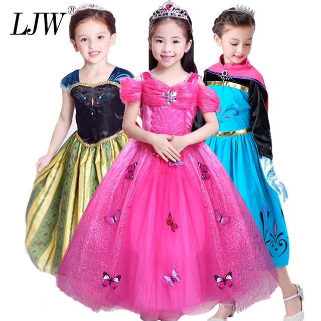 83542b73d € 5.94 29% de DESCUENTO|Bebé chica, Anna Elsa vestido alto Grado princesa  cenicienta de la ropa de los niños para la fiesta de Navidad traje de la ...