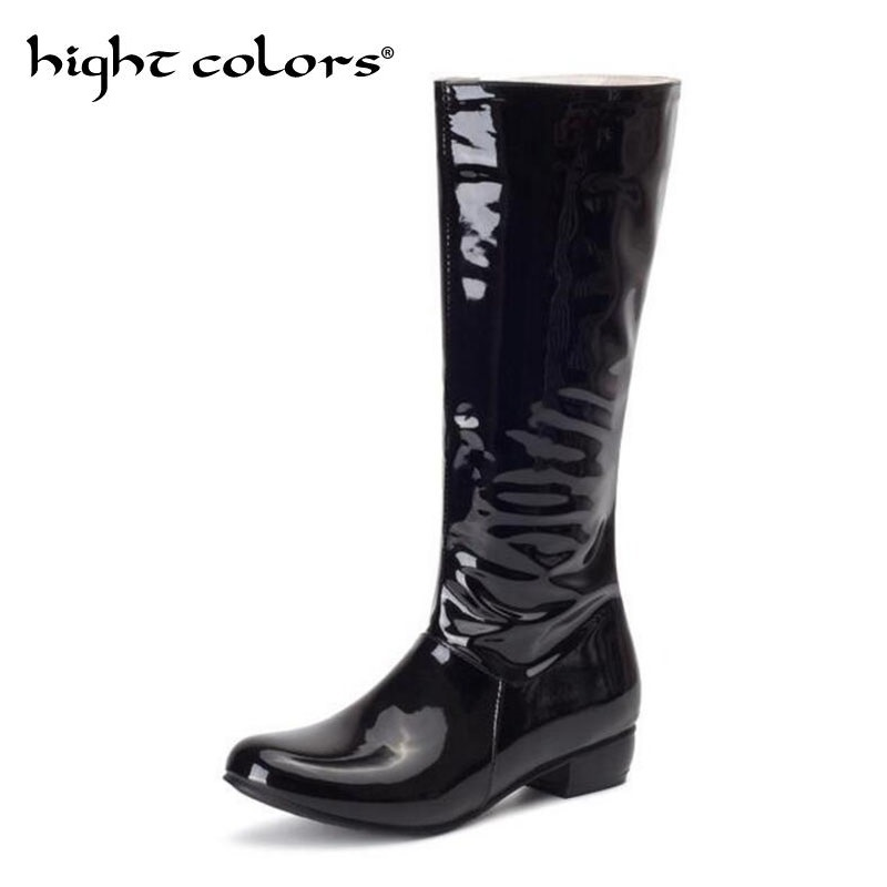 New Autumn Mid-calf Women Boots Flats Heels Sexy Patent Leather Riding Boots High Quality Knee High Boots Shoes Woman Black RedNew Autumn Mid-calf Women Boots Flats Heels Sexy Patent Leather Riding Boots High Quality Knee High Boots Shoes Woman Black Red