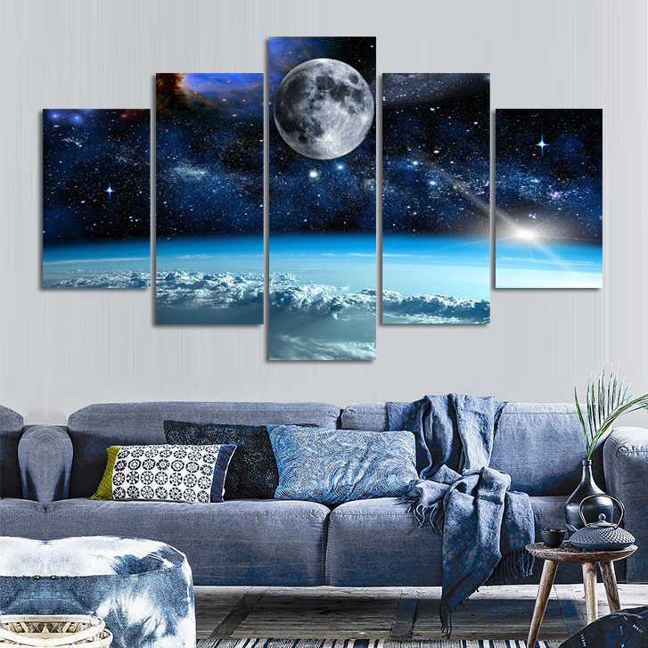 5 Panel No Frame Wal Art Space Universe Landscape Oil Paintings Print On Canvas Wall Art Art Artwork Paintings Home Decor
